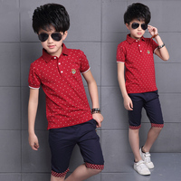 4 14Year Fashion Children Boys Clothing Sets Teenage Summer 100% Cotton T shirt+Pants 2Pcs Boy Gentleman Suit Children 2018 New