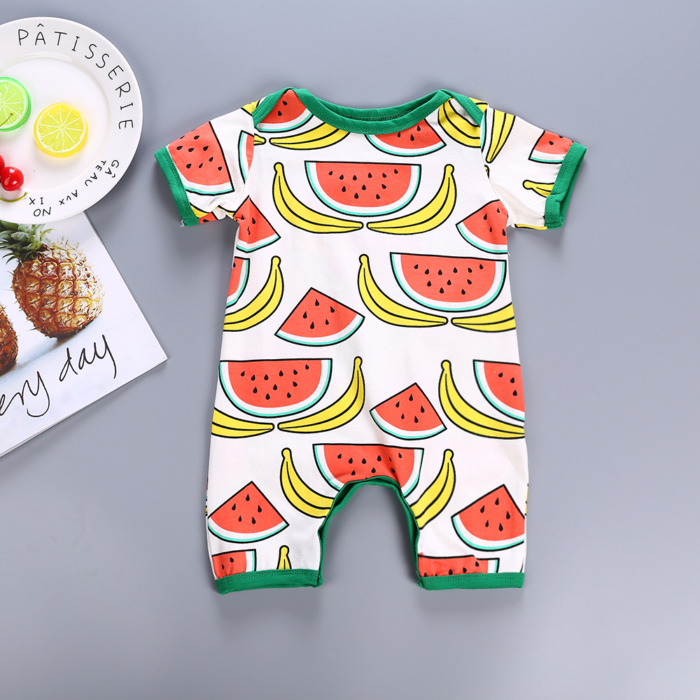 Newborn Baby rompers cotton summer baby boy girls jumpsuits lovely bebe roupas watermelon design baby overalls clothes