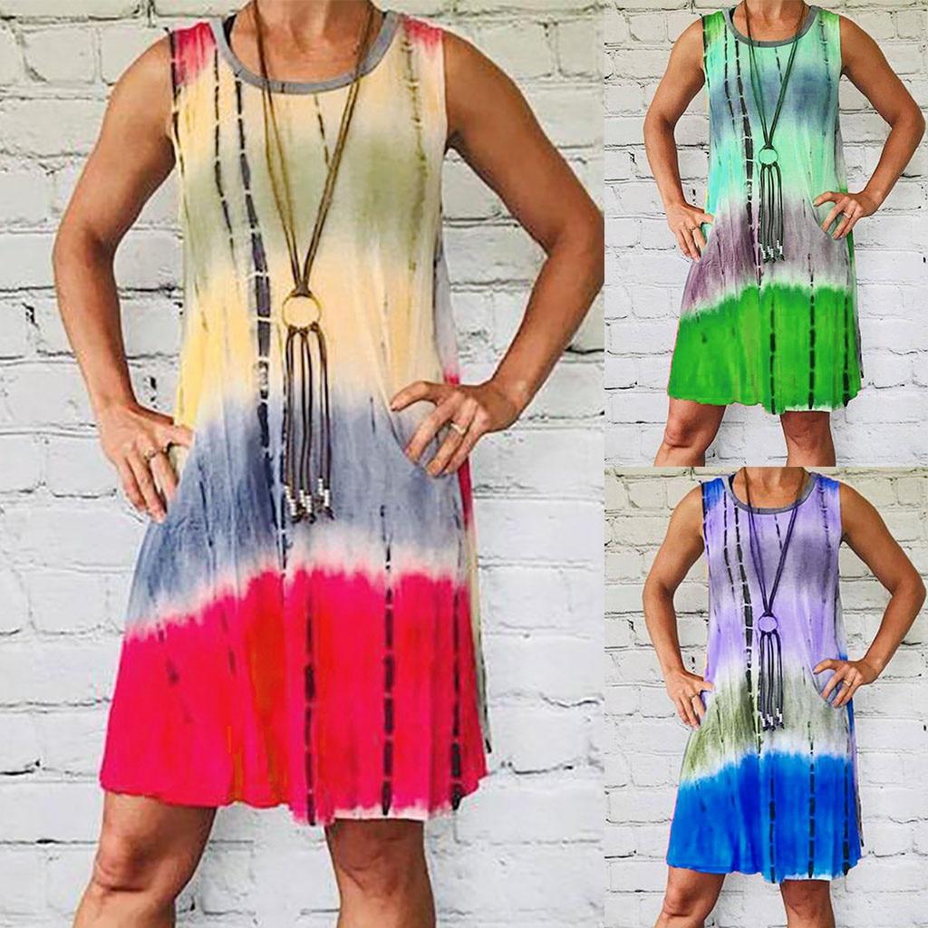 6e93620b4b32 Verano de las mujeres casuales de moda de Color de la corbata-teñido Mini  vestido Sexy