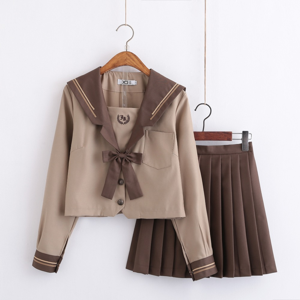 Students Long-sleeved School Uniforms Japan And Korea JK Uniforms Junior High School Boys And Girls Students Suit Coffee Colour