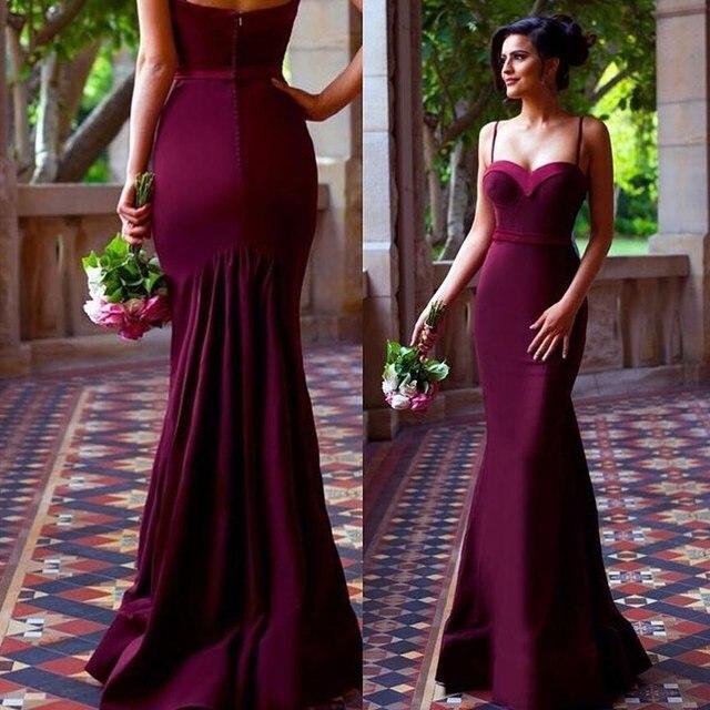 93325eece8 2017 Elegant New Arrival Burgundy Wine Red Evening Dress Prom Dress Mermaid Spaghetti  Straps Long Evening Dresses Prom Dresses