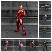 Iron Man Captain America Sort Panther Winter Soldier Ant-Man Falcon Scarlet Witch Vision Hawkeye Action Figur Model Legetøj N033