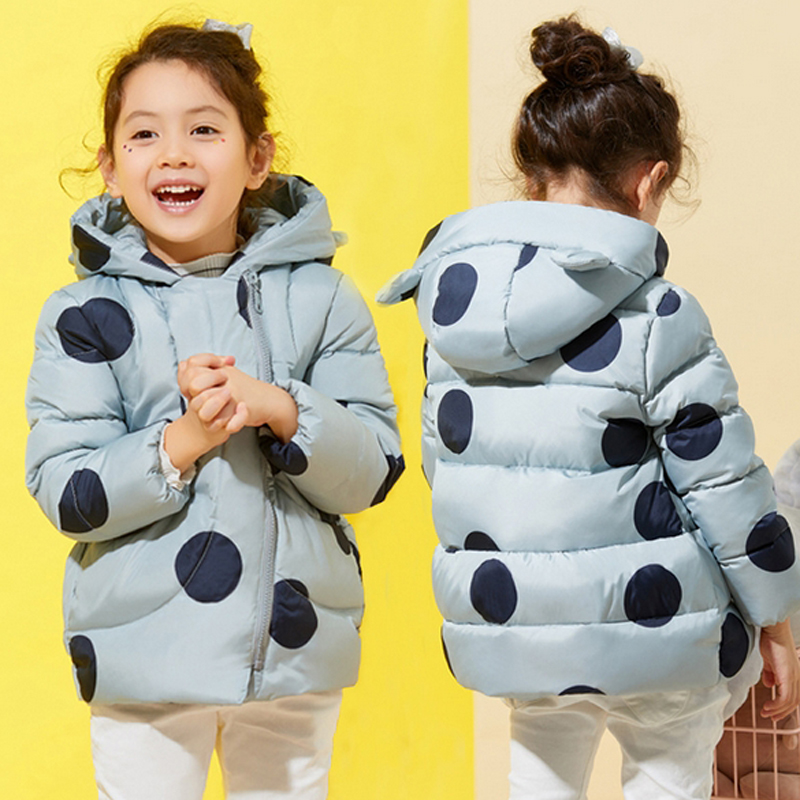 Winter Jacket For Girls Kids Hooded Parka Clothes Children Warm Coats Autumn Down Jackets Girls Snowsuits PolK Dot Outerwear children winter clothing coat for girl wool down jackets for girls baby woolen jacket outerwear kids thicken clothes coats parka