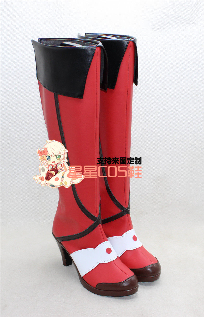 Macross Delta Freyja Wion Red Girls Long Cosplay Shoes Boots X002