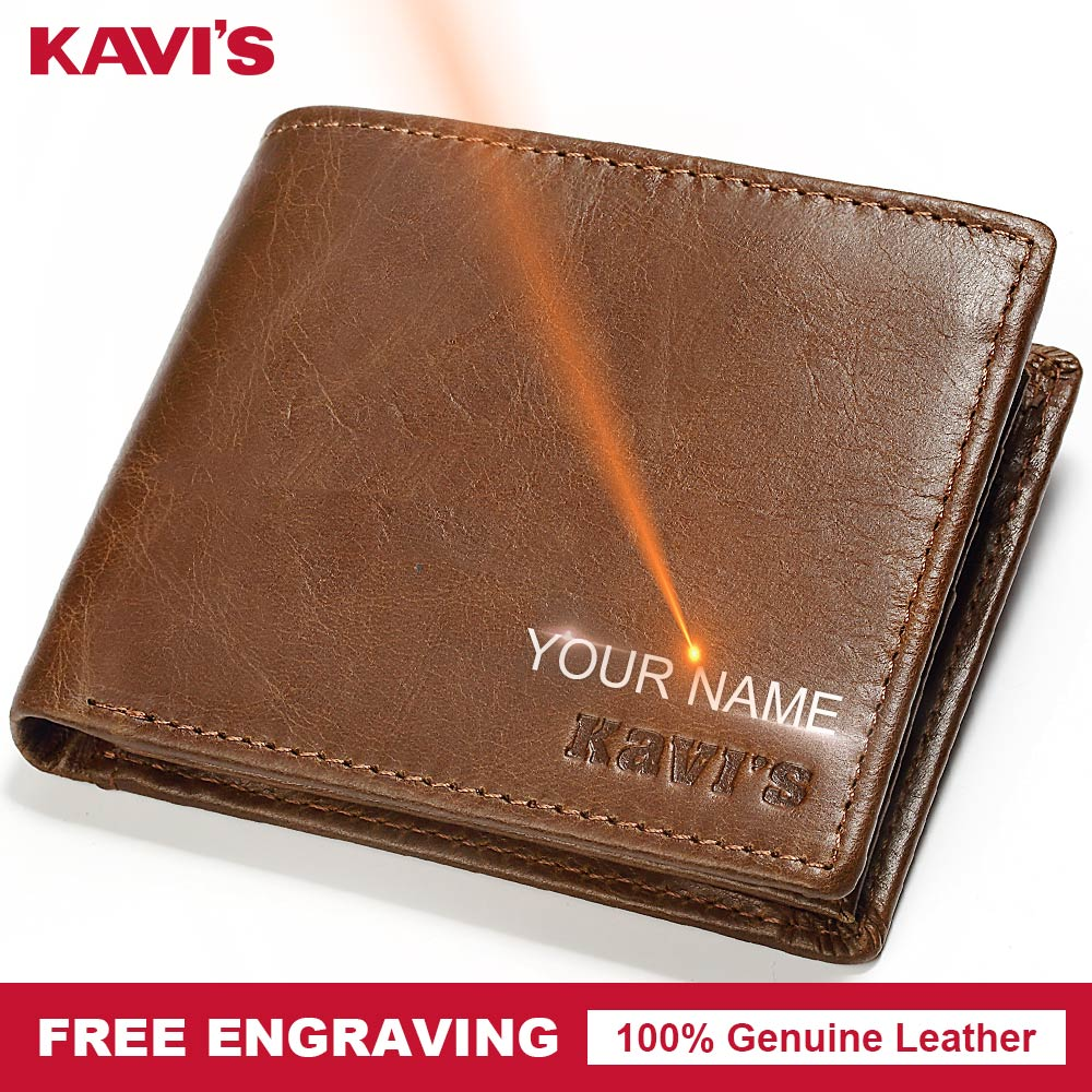 KAVIS Genuine Leather Wallet Men Hasp Portomonee PORTFOLIO Magic Simple Male Cuzdan DIY Gift For Man Slim Card Holder Money Bag