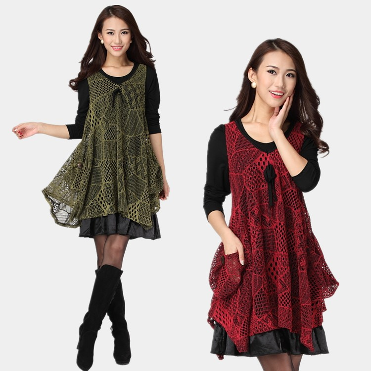 New 2016 Autumn winter dress two pcs set Women loose elegant Dress twinset mesh modal dresses