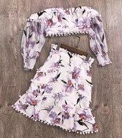 Лето два юбка из кусочков набор для женщин укороченный топ рубашка и юбка А силуэта 2019 с открытыми плечами Женский Костюм Повседневный