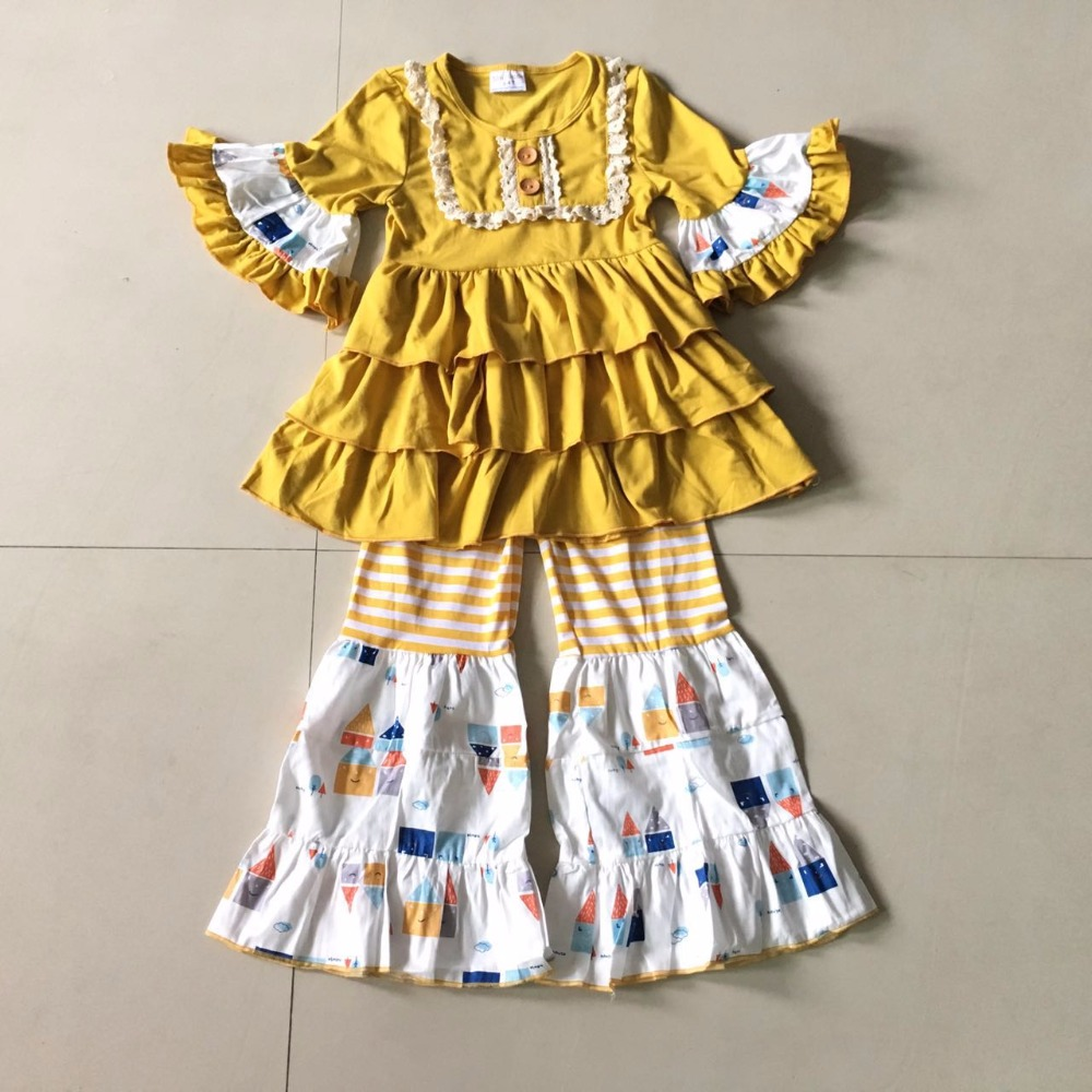 95% cotton and Fall of Wave stripe and 3/4 sleeves and many Ruffles Baby Girls Dress Apparel Accessory for birthday present 2017 new fall mustard yellow children sets ruffle butterfly sleeves infants clothing baby girl nursing accessory apparel