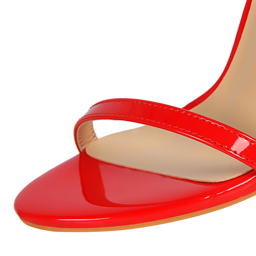 HTB1ProBhOQnBKNjSZFmq6AApVXae 2019 Women Size 40 Flock Extreme 11cm High Heels Fetish Sandals Female Gladiator Cheap Strap Shoes Lady Nude Valentine Red Pumps