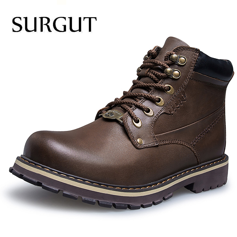 SURGUT 2018 Autumn Men s Genuine Leather Boots Winter Warm Fur Working Boots Mountain Shoes Vintage