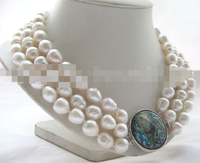 FREE SHIPPING>>>@@ > 0772 3row white baroque rice freshwater pearl necklace abalone shell