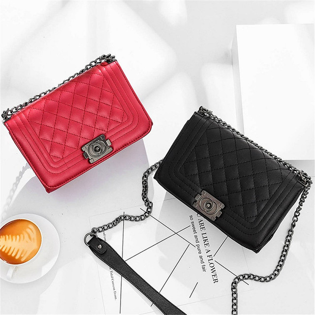 Famous Brand Leather Messenger Bags Luxury Shoulder Bag Quilted Designer Handbags Women Black Red Vintage Mini