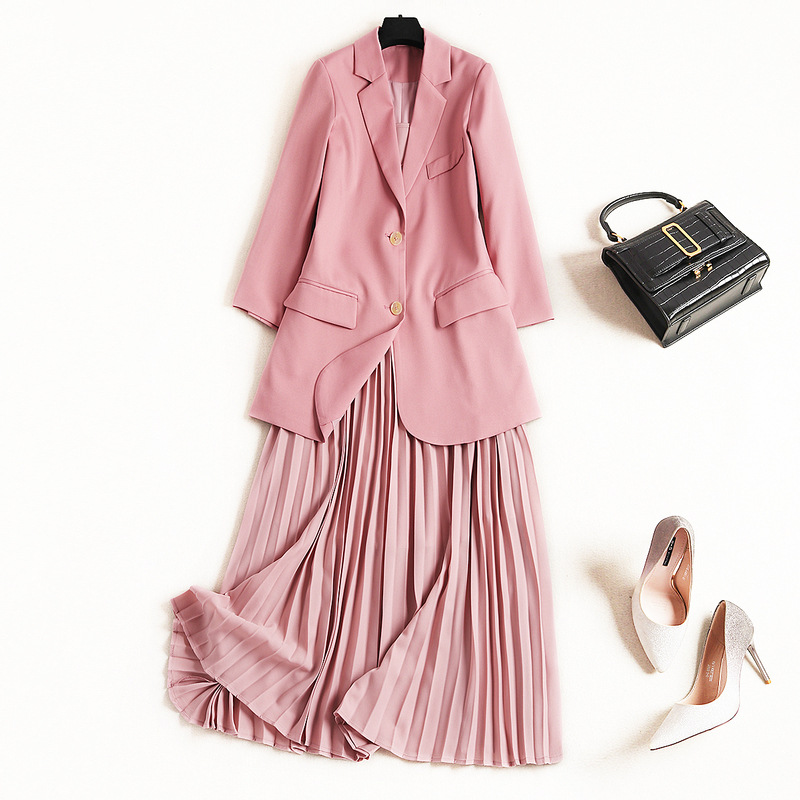 2019 New Designer Spring Woman Dress 2Piece Set Elegant Office Lady Notched Collar Sweet Pink Blazer+Midi Pleated Dress-in Dresses from Women's Clothing    1
