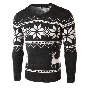 Image 3 - Deer Christmas Sweaters for Man O Neck Casual Pullover Male Sweater Men Jumper Mens Knitwear Sueter Slim Top Winter Sweters