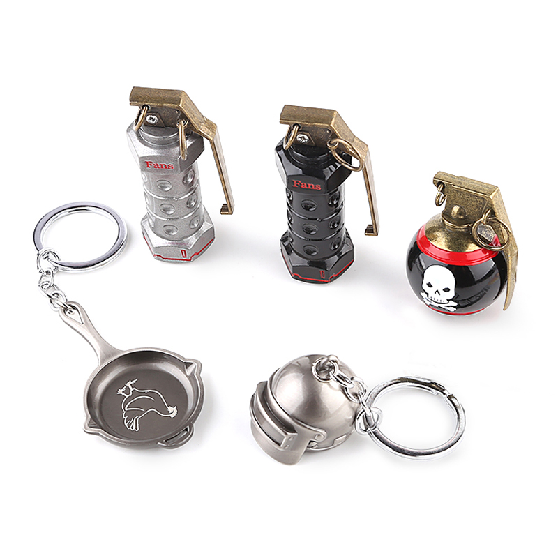 5pcs Takerlama Game Playerunknowns Battleground 3D Keychain Special-Forces PUBG Level 3 Helmet Pan Zinc Alloy Keyring Set #E safety pvc special forces helmet random color