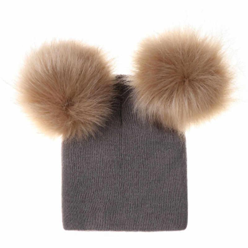 Ideacherry sombrero para niños pequeños niños bebé cálido invierno lana gorro tejido Gorro con piel Pom sombrero de bebé niñas gorra 1-2 años infantil