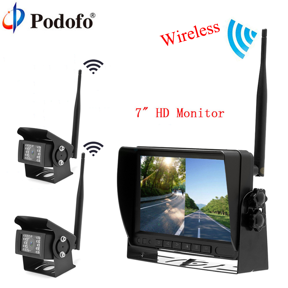 Podofo 7 Wireless Monitor Backup Vehicle 2 Cameras Reversing System Parking Assistance Digital Display For RV Truck Trailer Bus