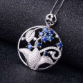 Luxurious sapphire pendant 100% natural blue sapphire necklace pendant beautiful flower design sterling silver pendant for girl