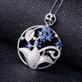Zafiro colgante 100% natural azul zafiro colgante de collar de lujo hermosa flor de diseño de plata esterlina colgante de la muchacha