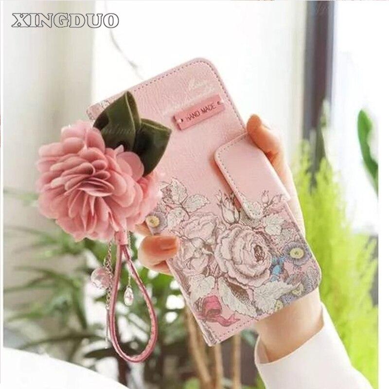 imágenes para Xingduo para apple iphone 7 flor de rose bolso de cuero correa flip monedero muñequera card case cubierta para iphone7plus/6/6 s/6 plus/5S