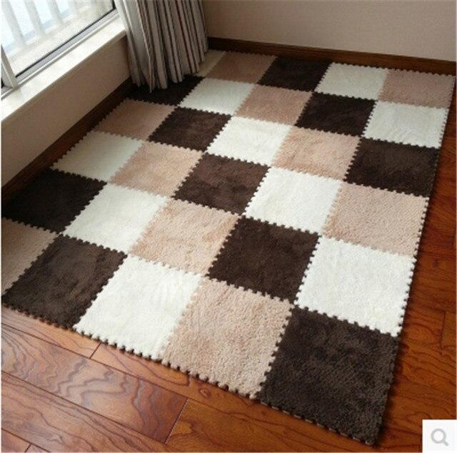 10pcs Set DIY Puzzle Mat Living Room Bedroom Children Soft EVA Foam Shaggy Velvet Carpet
