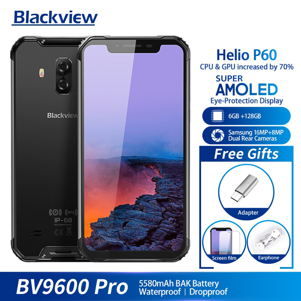 Blackview BV9600 Pro IP68 Waterproof Mobile Phone Helio P60 6GB+128GB 6.21 19:9 FHD AMOLED 5580mAh Android 8.1 Smartphone NFC