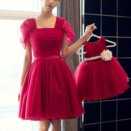 Mother Daughter Dresses Christmas Matching Dresses Wedding Princess Mom And Me Clothes Wedding Party Red Eveing Dress