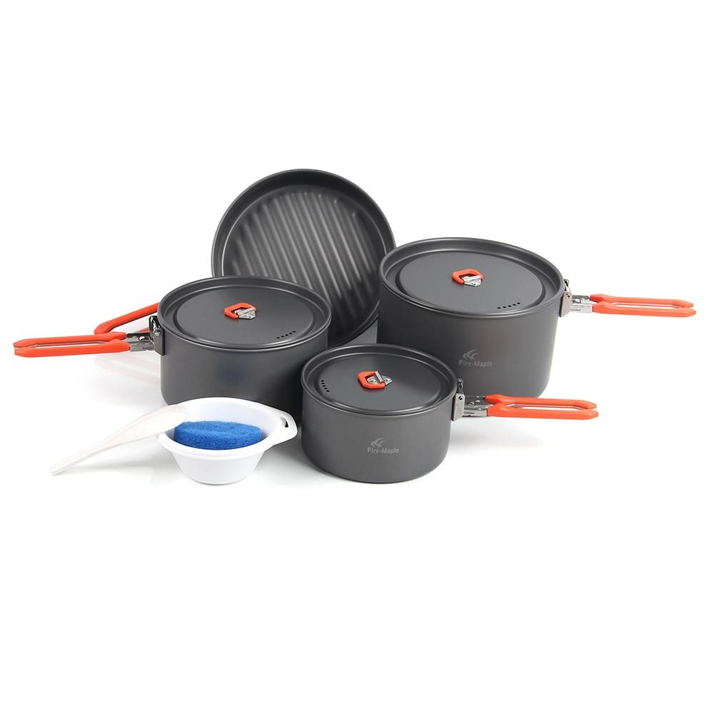 Fire Maple 7Pcs Outdoor Camping Cookware Set Hiking Picnic Cooking Pot Pan Frypan Kettle Tea Pot
