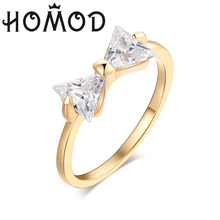HOMOD 2019 Austria Crystal Rings Gold Color Finger Bow Ring Wedding Engagement Zircon Women Jewelry Dropship