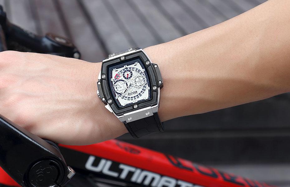 Montres À Quartz Chronographe Sport Bracelet En Cuir