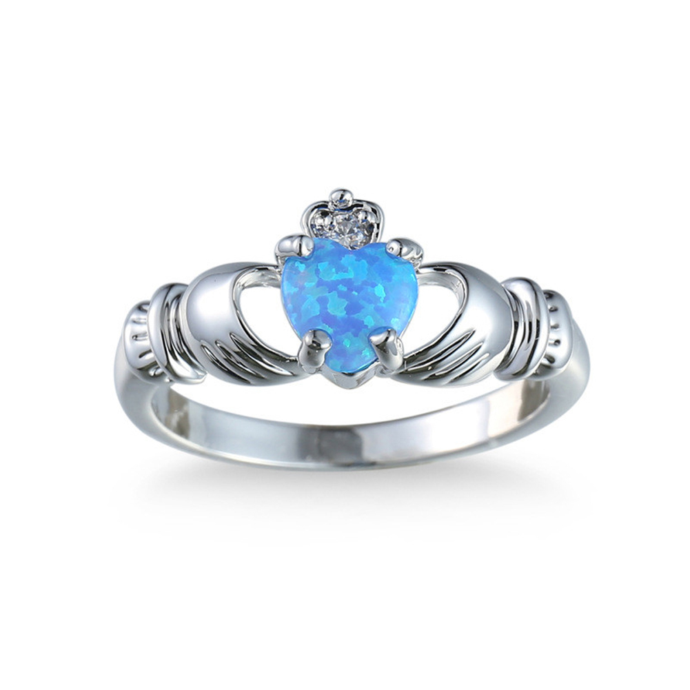 Elegant Heart Cut Blue Opal Ring Fashion Wedding Jewelry Filled Engagement Promise Rings Size 6,7,8,9,10 DropShipping