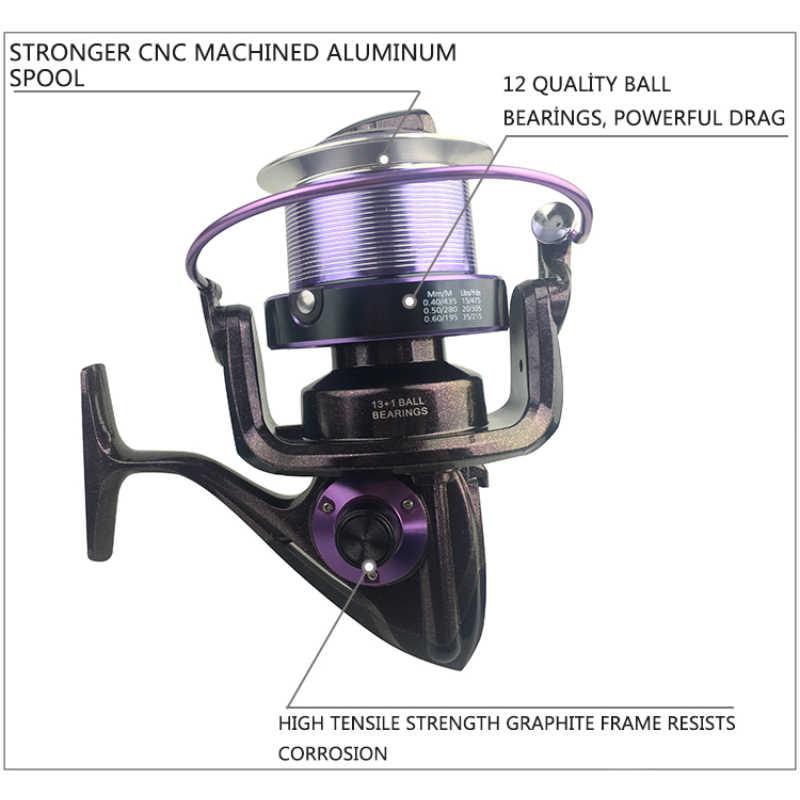 Yumoshi 14BB تغذية الكارب الصيد بكرة الألومنيوم سبيكة معدنية الصيد بكرات الغزل عجلة التصيد بكرة molinete shimano