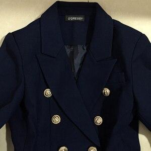 Image 5 - Yüksek kalite yeni moda 2020 tasarımcı Blazer ceket kadın Metal aslan düğmeler çift Breasted Blazer dış ceket boyutu S XXXL