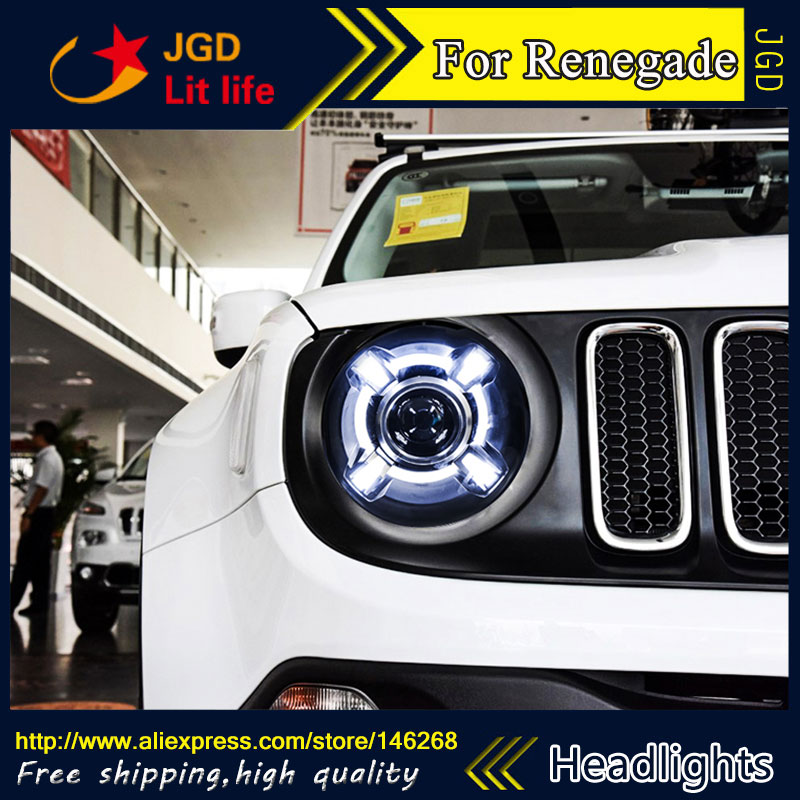 Free shipping ! Car styling LED HID Rio LED headlights Head Lamp case for Renegade Bi-Xenon Lens low beam union car styling for renegade headlights for renegade hid head lamp angel eye led drl front light for jeep renegade hid lamp