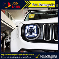 Free shipping ! Car styling LED HID Rio LED headlights Head Lamp case for Renegade Bi Xenon Lens low beam