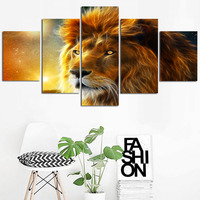5 Panel Wall Art Painting Gold Lion Head Posters Modern Abstract Animal Picture Print on Canvas for Living Room Decor Unframed