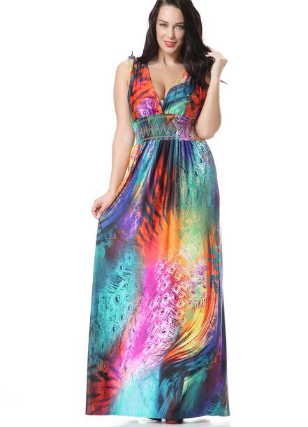 2016 mode frauen Bohemian Kleider Hawaii Party Urlaub Stil Strand ...