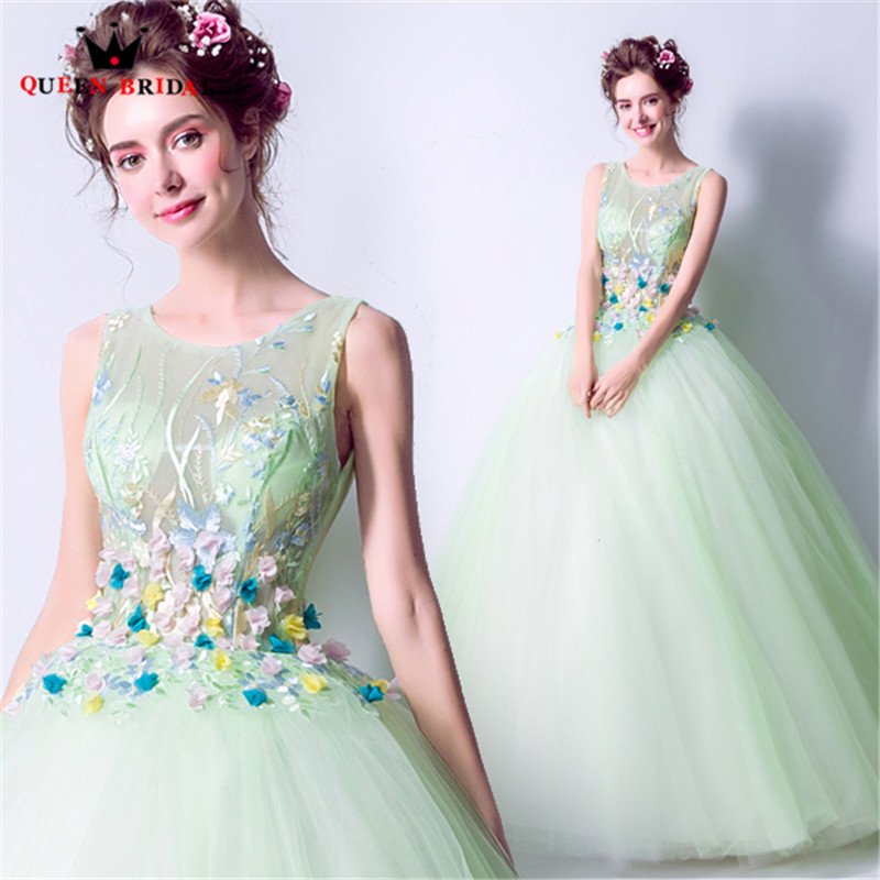 QUEEN BRIDAL Fluffy Long Evening Dresses Ball Gown Tulle 3D Flowers Elegant Party Prom Dress 2018
