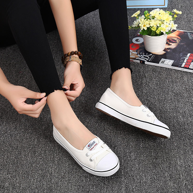 New Shallow flat women sneakers comfortable summer casual canvas shoes Breathable black Slip-on Vulcanize Shoes female NBT999 new women s vulcanize shoes spring summer slip on sneakers black casual shoes women breathable hollow out woman sneakers