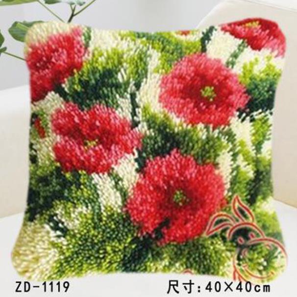 "Pillow""do it yourself""flower method needlework kit latch hook rug kit Unfinshed embroidered carpet pattern big Red flower(China)"