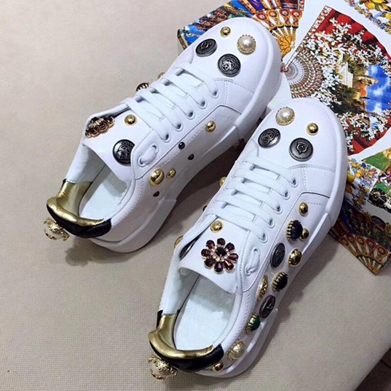 Black white À Lace forme Rivet Des Blanc 2018 Shoes Casual Respirant Plat Femmes Perle Coudre L'usure Résistant Chaussures Shoes up Chaude Couleur Plate Sneaker Sort qwx710g8