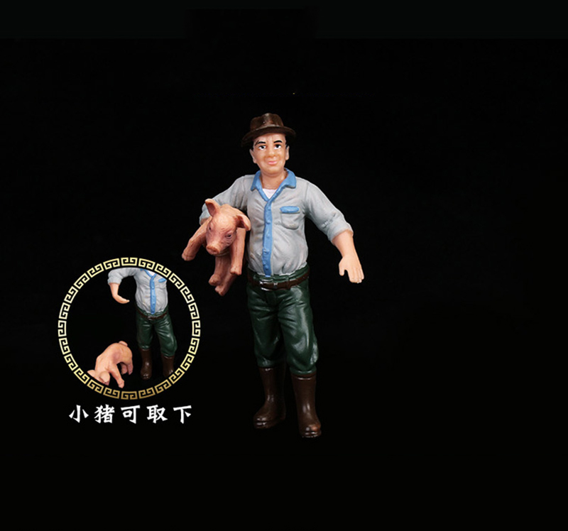 9cm Male Farmers with Baby Pig Models PVC Figures