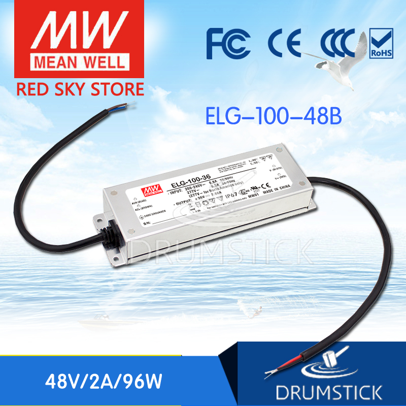 MEAN WELL ELG-100-48B 48V 2A meanwell ELG-100 48V 96W Single Output LED Driver Power Supply B type 3mean well original elg 100 c500d 210v 500ma meanwell elg 100 210v 100w single output led driver power supply d type