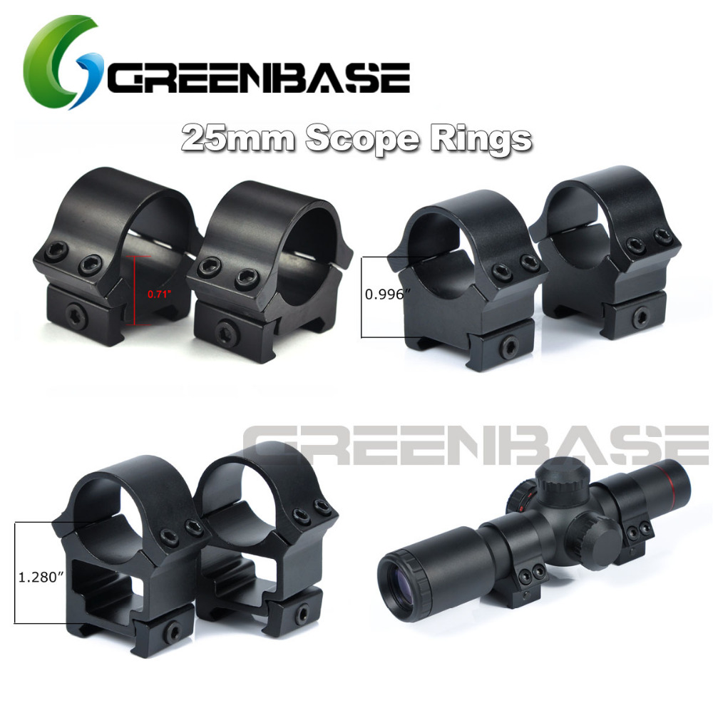 Greenbase Low Medium High Profile 25.4mm Scope Mount Weaver Picatinny Rail Aim Tactical Scope Rings 1 Inch Heavy Duty Device