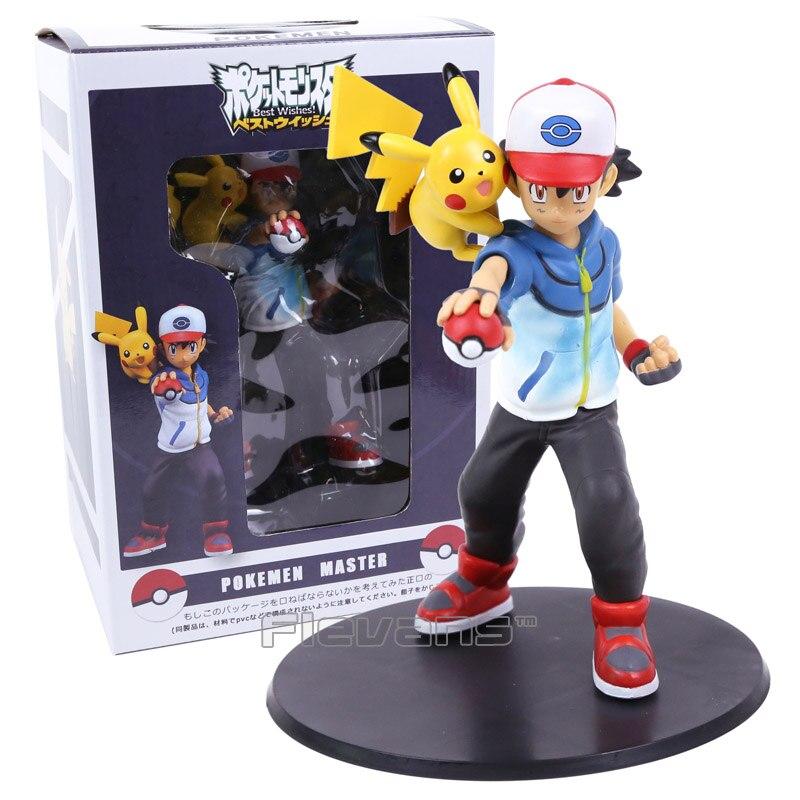 Anime Cartoon Ash Ketchum & Pikachu PVC Figure Collectible Model Pocket Monsters Toys Big Size 19cm anime monsters ash ketchum pikachu pvc