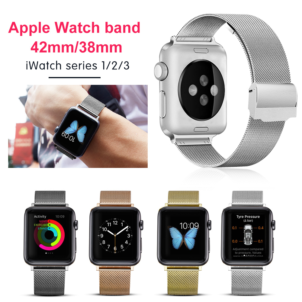 Milanese Loop For Apple Watch band strap 42mm/38mm iwatch 3/2/1 Stainless Steel Link Bracelet wrist watchband magnetic buckle milanese loop watchband for fitbit charge 2 smart watch band stainless steel strap magnetic buckle wrist bracelet black silver