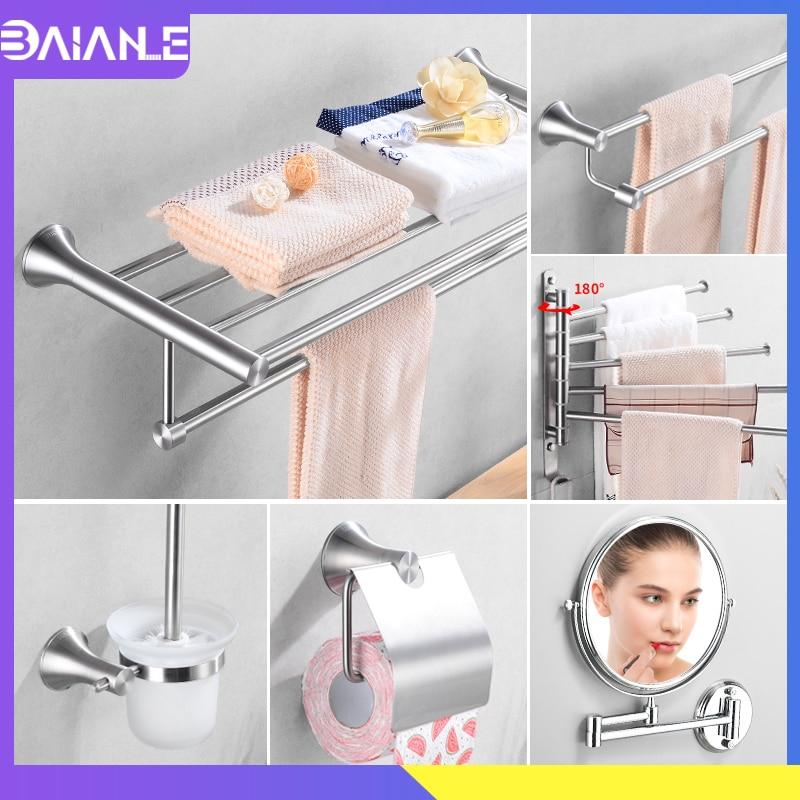 Towel Rack Hanging Holder Stainless Steel Bathroom Towel Holder Set Double Towel Bar Wall Mounted Toilet Paper Holder Robe Hook