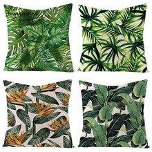 Fuwatacchi Tropical Plant Flowers and Trees Linen Cushion Cover Green Red Nature Plants Throw Pillow Colorful Pillowcases