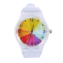 Women Wrist Watches Plastic Clock Transparent Strap Student