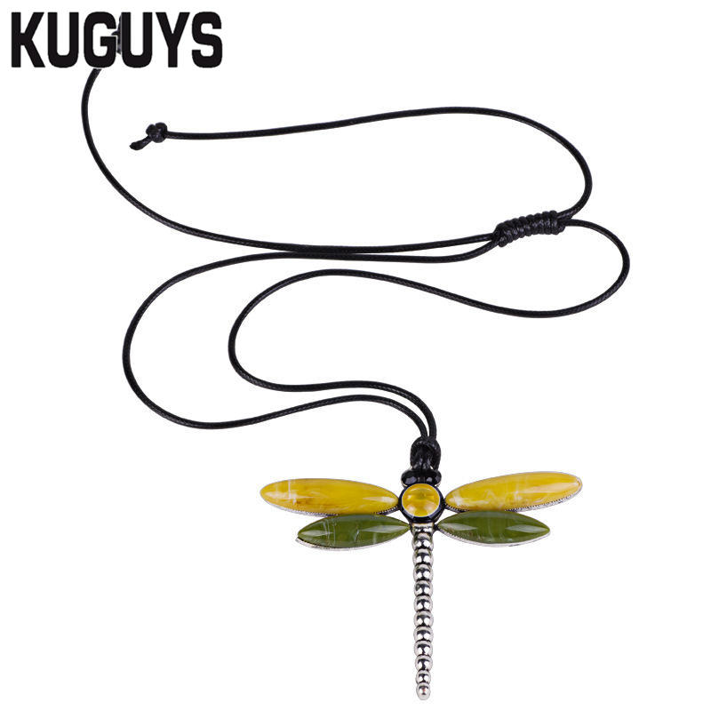 KUGUYS Trendy Jewelry Resin Dragonfly Pendant Necklaces for Women Alloy Resin Animal Necklace Sweater Chain Fashion Accessories